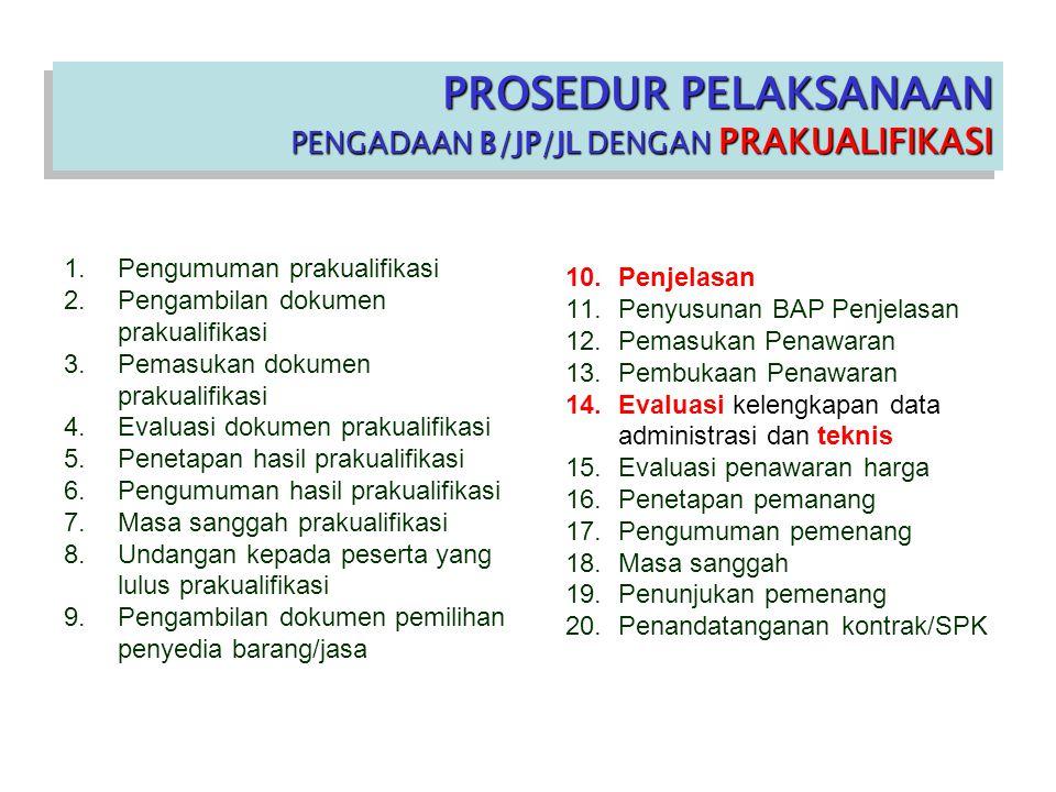 PROSEDUR PELAKSANAAN PENGADAAN B/JP/JL DENGAN PRAKUALIFIKASI PROSEDUR PELAKSANAAN PENGADAAN B/JP/JL DENGAN PRAKUALIFIKASI 1.Pengumuman prakualifikasi 2.Pengambilan dokumen prakualifikasi 3.Pemasukan dokumen prakualifikasi 4.Evaluasi dokumen prakualifikasi 5.Penetapan hasil prakualifikasi 6.Pengumuman hasil prakualifikasi 7.Masa sanggah prakualifikasi 8.Undangan kepada peserta yang lulus prakualifikasi 9.Pengambilan dokumen pemilihan penyedia barang/jasa 10.Penjelasan 11.Penyusunan BAP Penjelasan 12.Pemasukan Penawaran 13.Pembukaan Penawaran 14.Evaluasi kelengkapan data administrasi dan teknis 15.Evaluasi penawaran harga 16.Penetapan pemanang 17.Pengumuman pemenang 18.Masa sanggah 19.Penunjukan pemenang 20.Penandatanganan kontrak/SPK