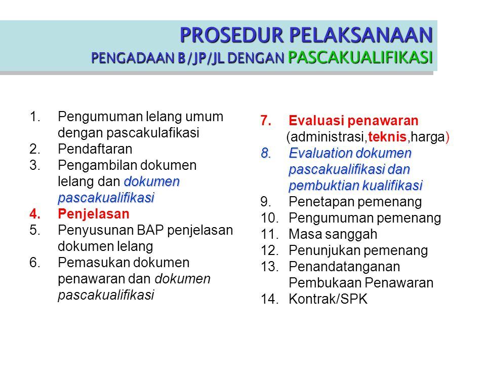 1.Pengumuman lelang umum dengan pascakulafikasi 2.Pendaftaran dokumen pascakualifikasi 3.Pengambilan dokumen lelang dan dokumen pascakualifikasi 4.Penjelasan 5.Penyusunan BAP penjelasan dokumen lelang 6.Pemasukan dokumen penawaran dan dokumen pascakualifikasi 7.Evaluasi penawaran (administrasi,teknis,harga) 8.Evaluation dokumen pascakualifikasi dan pembuktian kualifikasi 9.Penetapan pemenang 10.Pengumuman pemenang 11.Masa sanggah 12.Penunjukan pemenang 13.Penandatanganan Pembukaan Penawaran 14.Kontrak/SPK PROSEDUR PELAKSANAAN PENGADAAN B/JP/JL DENGAN PASCAKUALIFIKASI PROSEDUR PELAKSANAAN PENGADAAN B/JP/JL DENGAN PASCAKUALIFIKASI