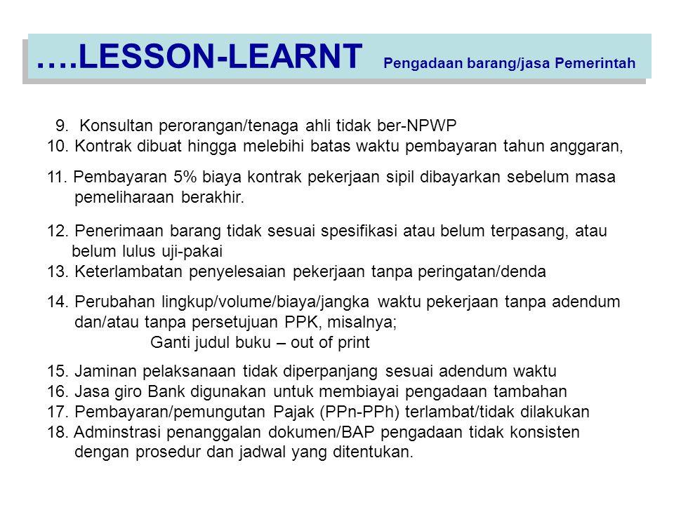 9.Konsultan perorangan/tenaga ahli tidak ber-NPWP 10.
