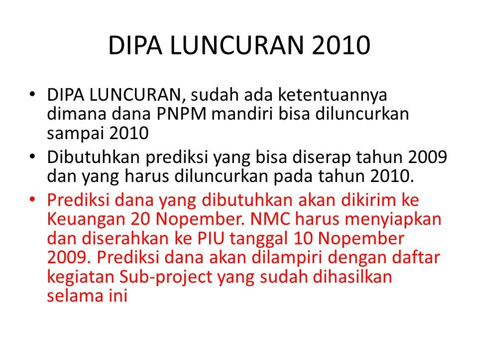 DIPA LUNCURAN 2010 DIPA LUNCURAN, sudah ada ketentuannya dimana dana PNPM mandiri bisa diluncurkan sampai 2010 Dibutuhkan prediksi yang bisa diserap tahun 2009 dan yang harus diluncurkan pada tahun 2010.
