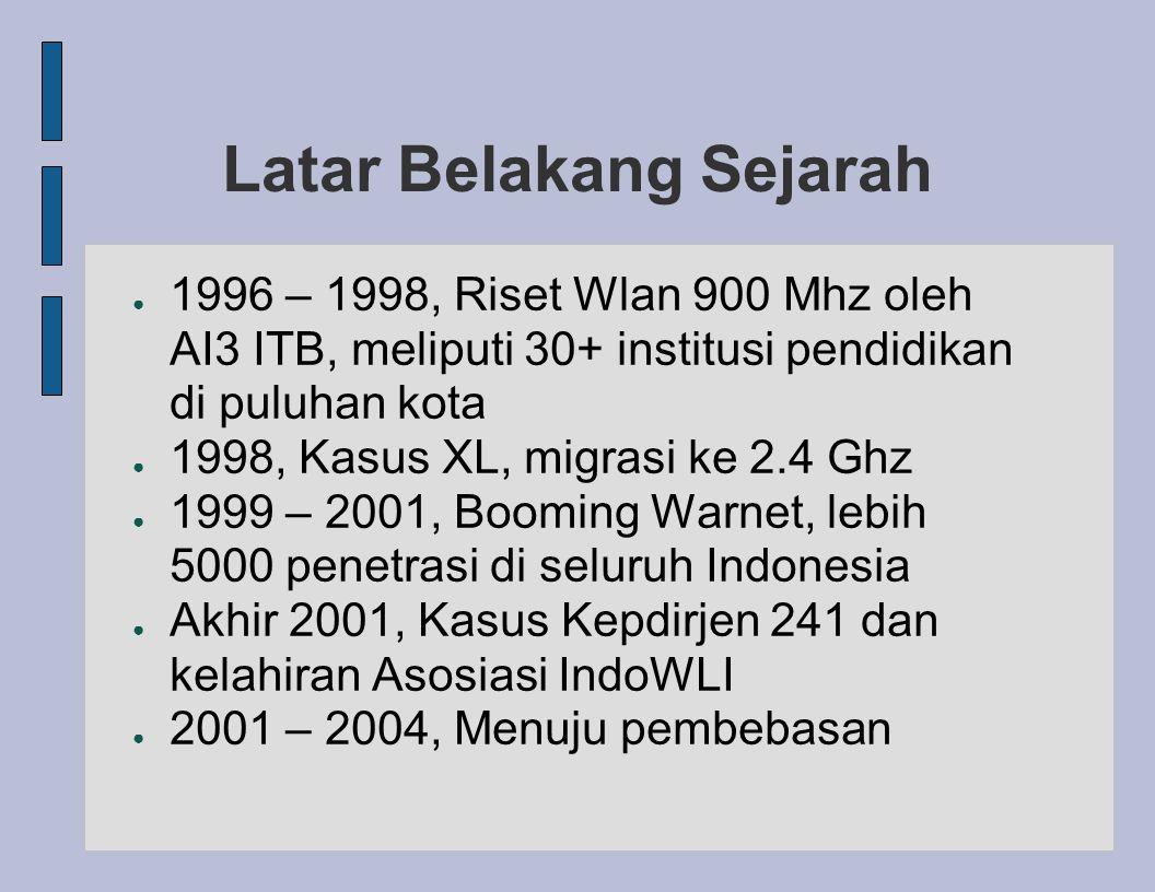 Latar Belakang Sejarah ● 1996 – 1998, Riset Wlan 900 Mhz oleh AI3 ITB, meliputi 30+ institusi pendidikan di puluhan kota ● 1998, Kasus XL, migrasi ke 2.4 Ghz ● 1999 – 2001, Booming Warnet, lebih 5000 penetrasi di seluruh Indonesia ● Akhir 2001, Kasus Kepdirjen 241 dan kelahiran Asosiasi IndoWLI ● 2001 – 2004, Menuju pembebasan