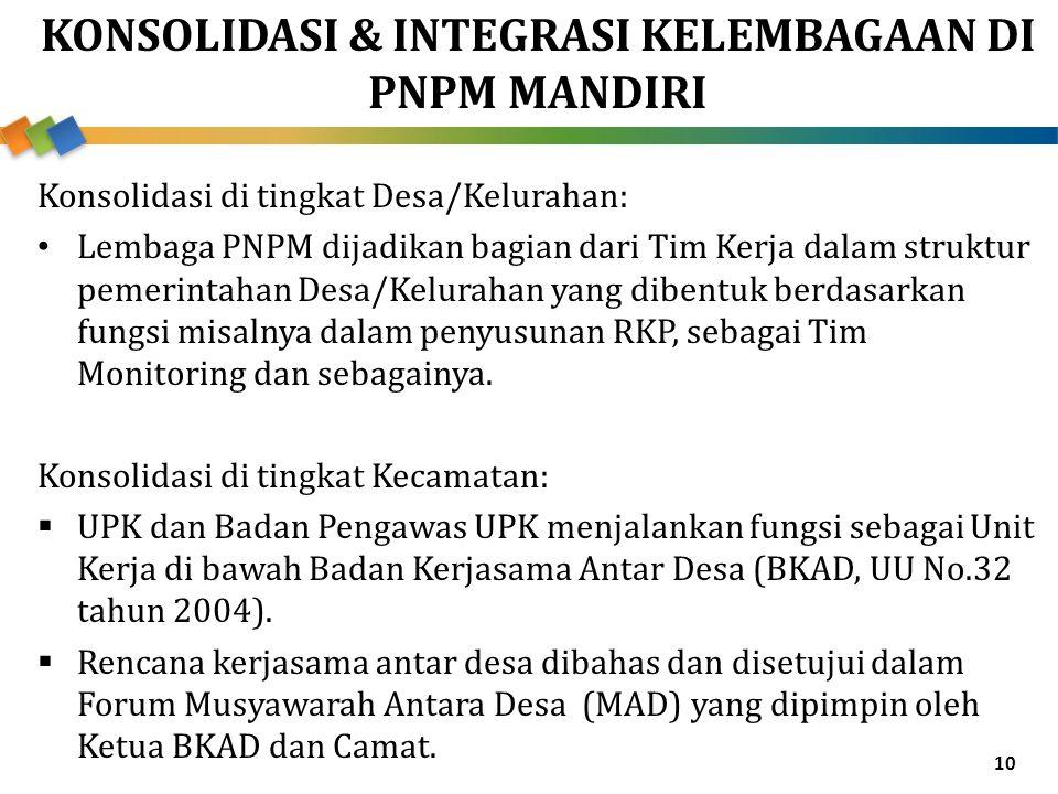 KONSOLIDASI & INTEGRASI KELEMBAGAAN DI PNPM MANDIRI Konsolidasi di tingkat Desa/Kelurahan: Lembaga PNPM dijadikan bagian dari Tim Kerja dalam struktur