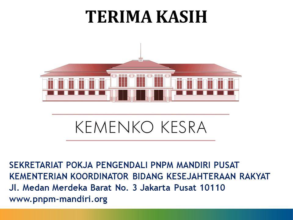 TERIMA KASIH SEKRETARIAT POKJA PENGENDALI PNPM MANDIRI PUSAT KEMENTERIAN KOORDINATOR BIDANG KESEJAHTERAAN RAKYAT Jl. Medan Merdeka Barat No. 3 Jakarta