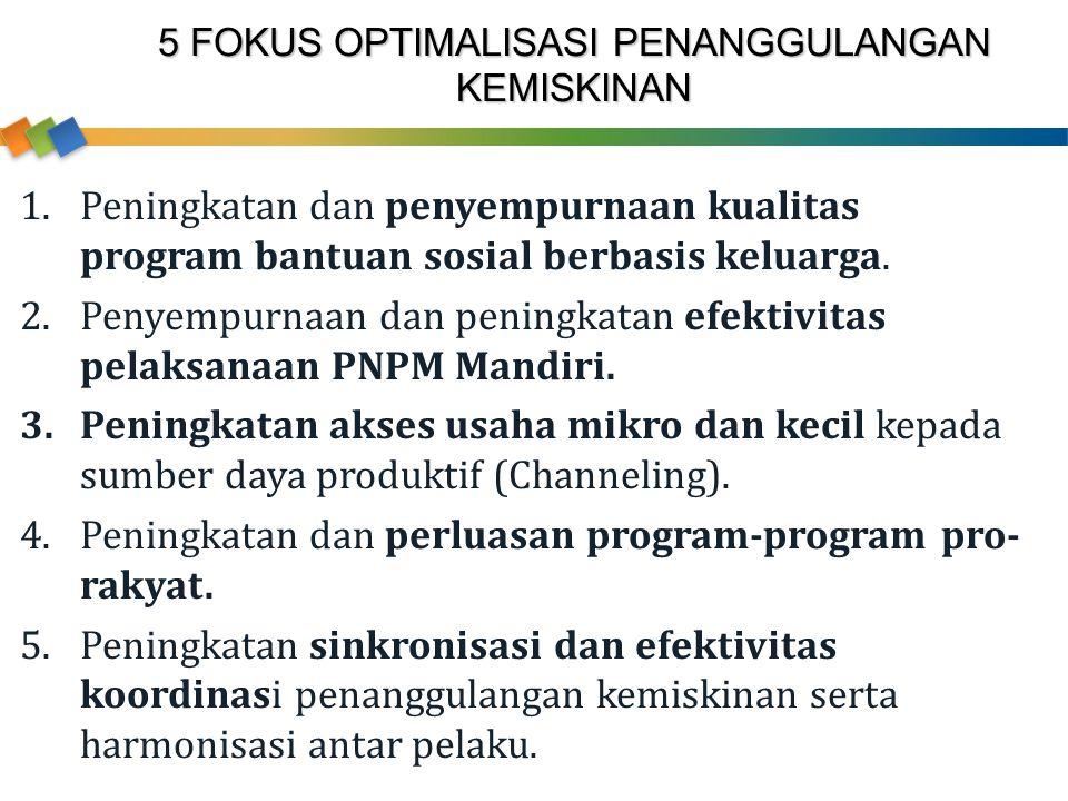 5 FOKUS OPTIMALISASI PENANGGULANGAN KEMISKINAN 1.Peningkatan dan penyempurnaan kualitas program bantuan sosial berbasis keluarga. 2.Penyempurnaan dan
