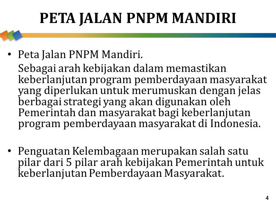 PETA JALAN PNPM MANDIRI Peta Jalan PNPM Mandiri. Sebagai arah kebijakan dalam memastikan keberlanjutan program pemberdayaan masyarakat yang diperlukan