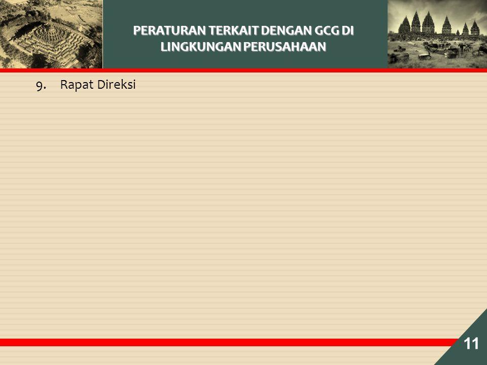 PERATURAN TERKAIT DENGAN GCG DI LINGKUNGAN PERUSAHAAN 9.Rapat Direksi 11