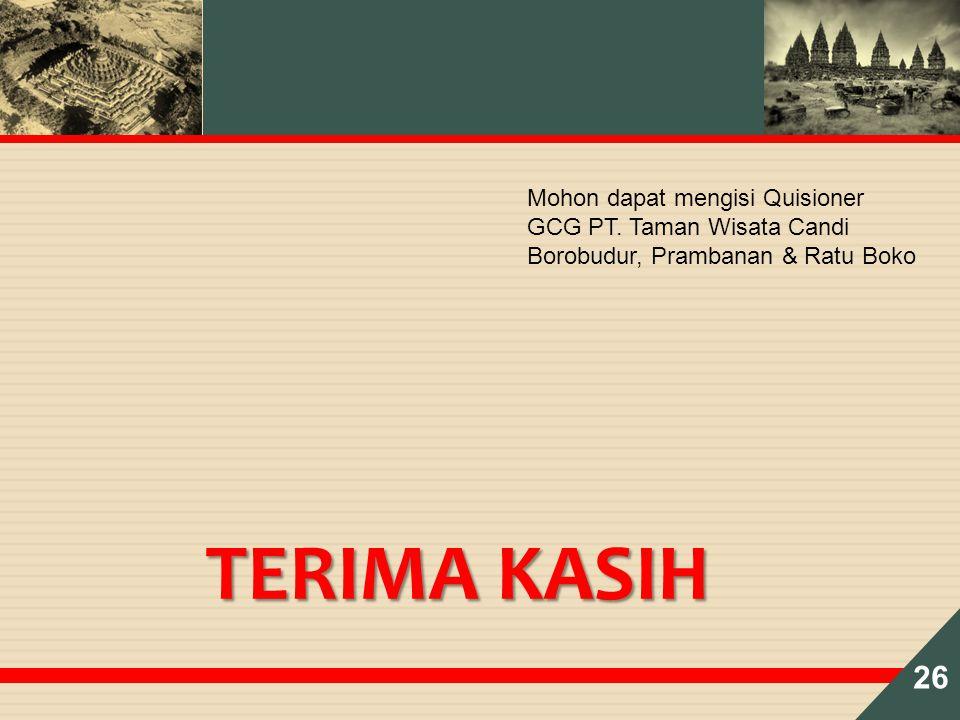 26 Mohon dapat mengisi Quisioner GCG PT. Taman Wisata Candi Borobudur, Prambanan & Ratu Boko TERIMA KASIH