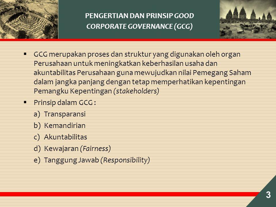  GCG merupakan proses dan struktur yang digunakan oleh organ Perusahaan untuk meningkatkan keberhasilan usaha dan akuntabilitas Perusahaan guna mewujudkan nilai Pemegang Saham dalam jangka panjang dengan tetap memperhatikan kepentingan Pemangku Kepentingan (stakeholders)  Prinsip dalam GCG : a)Transparansi b)Kemandirian c)Akuntabilitas d)Kewajaran (Fairness) e)Tanggung Jawab (Responsibility) PENGERTIAN DAN PRINSIP GOOD CORPORATE GOVERNANCE (GCG) 3