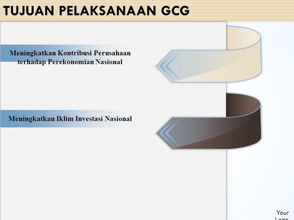 TUJUAN PELAKSANAAN GCG Your Logo Meningkatkan Kontribusi Perusahaan terhadap Perekonomian Nasional Meningkatkan Iklim Investasi Nasional