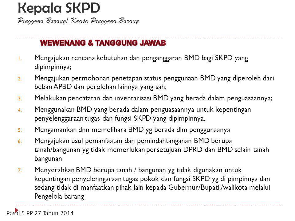 Sekretaris Daerah Pengelola BMD 1. Meneliti dan menyetujui rencana kebutuhan BMD; 2. Meneliti dan menyetujui rencana kebutuhan pemeliharaan/perawatan