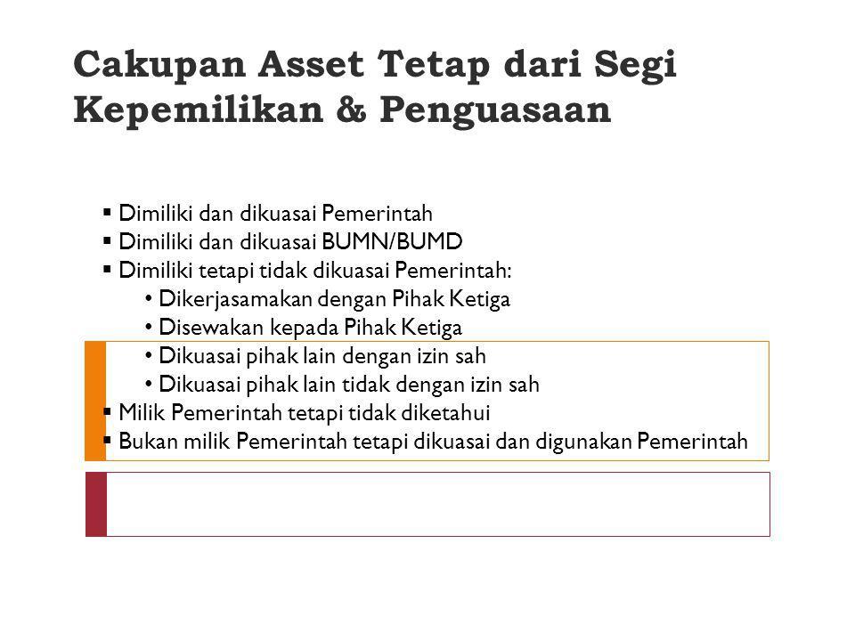 Pengakuan Kepemilikan Asset tetap diakui kepemilikannya setelah: Adanya serah terima barang, atau Terjadi perpindahan hak kepemilikan, atau Penguasaan
