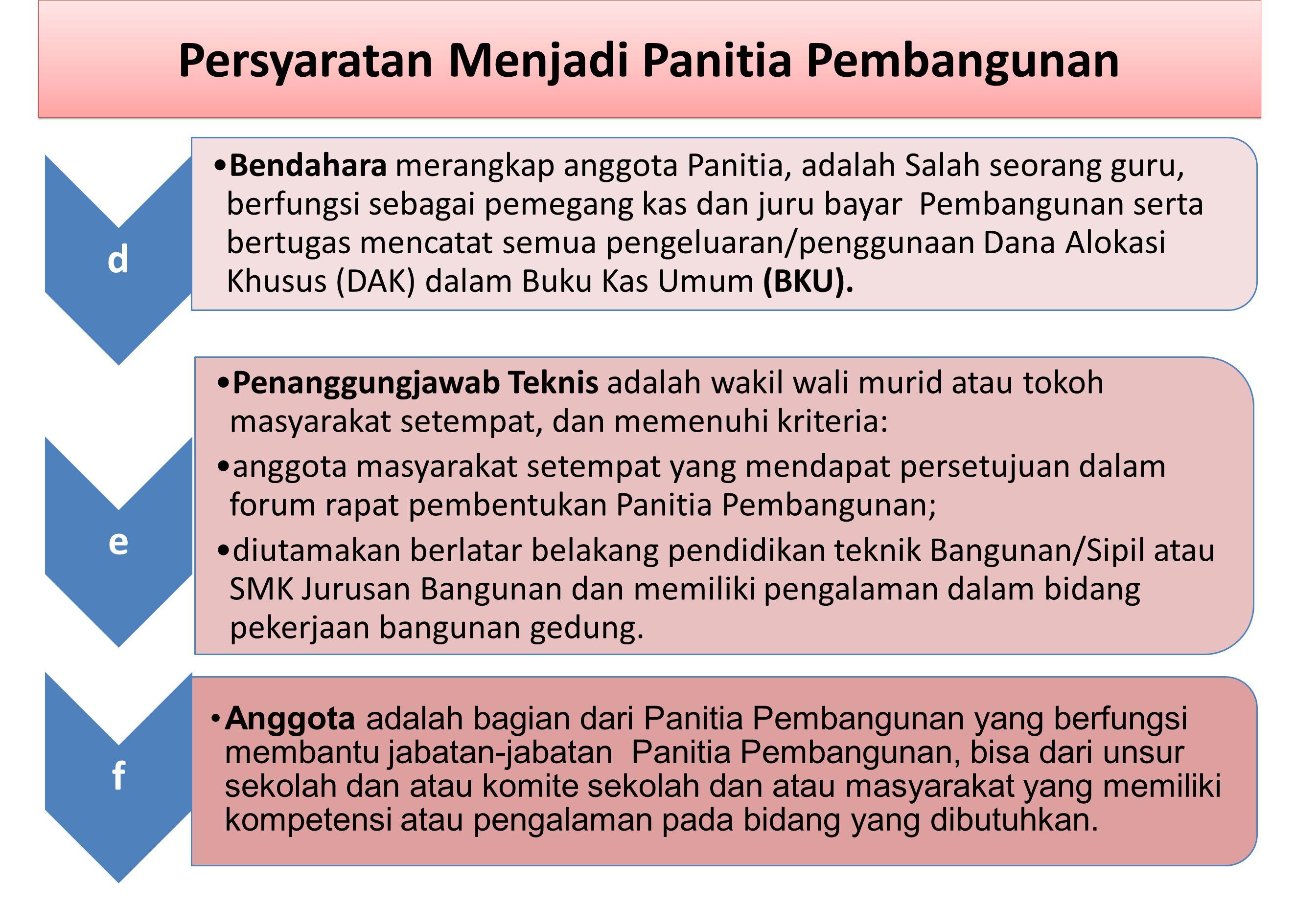 d Bendahara merangkap anggota Panitia, adalah Salah seorang guru, berfungsi sebagai pemegang kas dan juru bayar Pembangunan serta bertugas mencatat semua pengeluaran/penggunaan Dana Alokasi Khusus (DAK) dalam Buku Kas Umum (BKU).