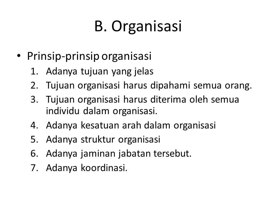 B. Organisasi Prinsip-prinsip organisasi 1.Adanya tujuan yang jelas 2.Tujuan organisasi harus dipahami semua orang. 3.Tujuan organisasi harus diterima