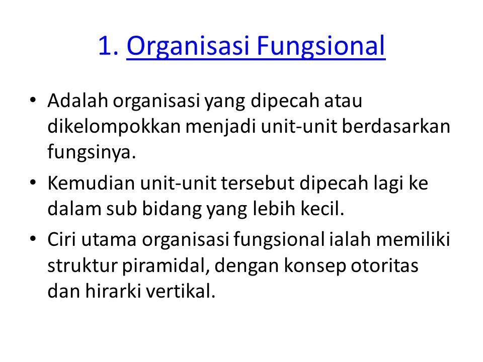 1. Organisasi Fungsional Adalah organisasi yang dipecah atau dikelompokkan menjadi unit-unit berdasarkan fungsinya. Kemudian unit-unit tersebut dipeca