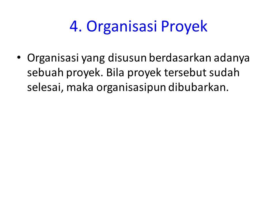 4. Organisasi Proyek Organisasi yang disusun berdasarkan adanya sebuah proyek. Bila proyek tersebut sudah selesai, maka organisasipun dibubarkan.