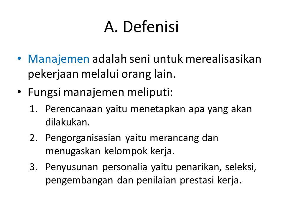 A. Defenisi Manajemen adalah seni untuk merealisasikan pekerjaan melalui orang lain. Fungsi manajemen meliputi: 1.Perencanaan yaitu menetapkan apa yan
