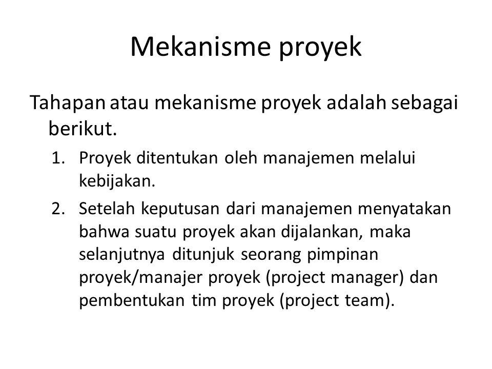 Mekanisme proyek Tahapan atau mekanisme proyek adalah sebagai berikut. 1.Proyek ditentukan oleh manajemen melalui kebijakan. 2.Setelah keputusan dari