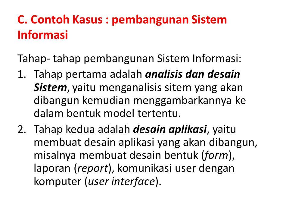 C. Contoh Kasus : pembangunan Sistem Informasi Tahap- tahap pembangunan Sistem Informasi: 1.Tahap pertama adalah analisis dan desain Sistem, yaitu men