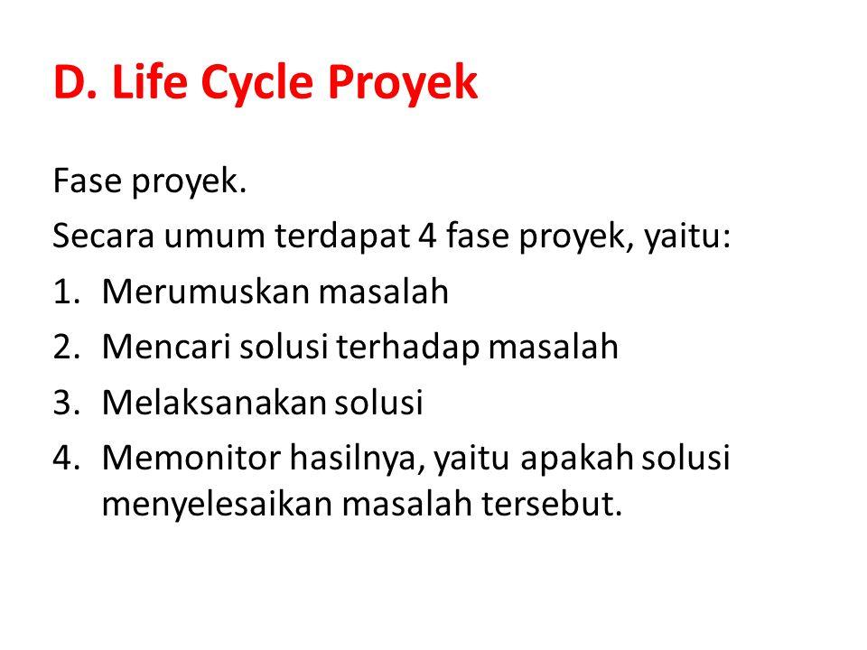 D. Life Cycle Proyek Fase proyek. Secara umum terdapat 4 fase proyek, yaitu: 1.Merumuskan masalah 2.Mencari solusi terhadap masalah 3.Melaksanakan sol