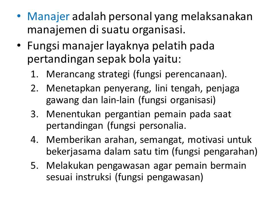Manajer adalah personal yang melaksanakan manajemen di suatu organisasi. Fungsi manajer layaknya pelatih pada pertandingan sepak bola yaitu: 1.Meranca