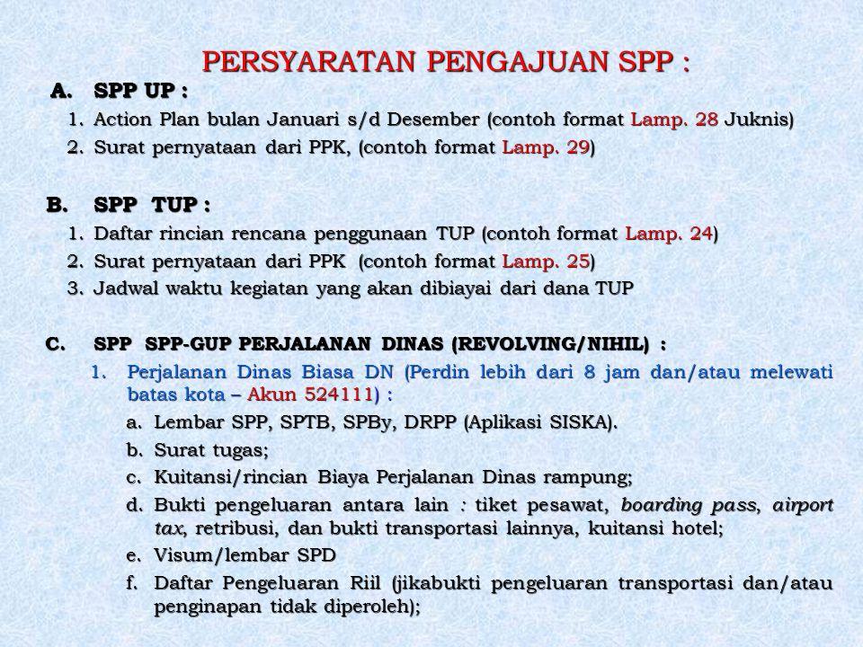 PERSYARATAN PENGAJUAN SPP : A. SPP UP : 1.Action Plan bulan Januari s/d Desember (contoh format Lamp. 28 Juknis) 2.Surat pernyataan dari PPK, (contoh