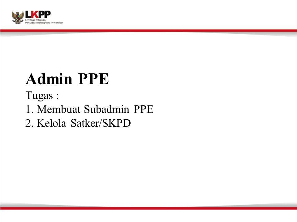 Admin PPE Tugas : 1. Membuat Subadmin PPE 2. Kelola Satker/SKPD