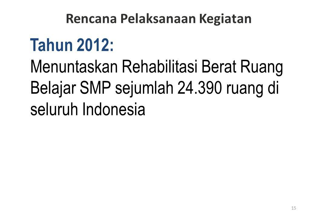 Tahun 2012: Menuntaskan Rehabilitasi Berat Ruang Belajar SMP sejumlah 24.390 ruang di seluruh Indonesia 15 Rencana Pelaksanaan Kegiatan