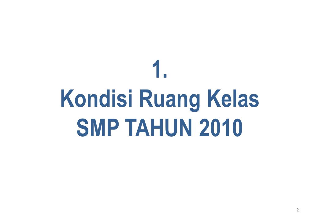 2 1. Kondisi Ruang Kelas SMP TAHUN 2010