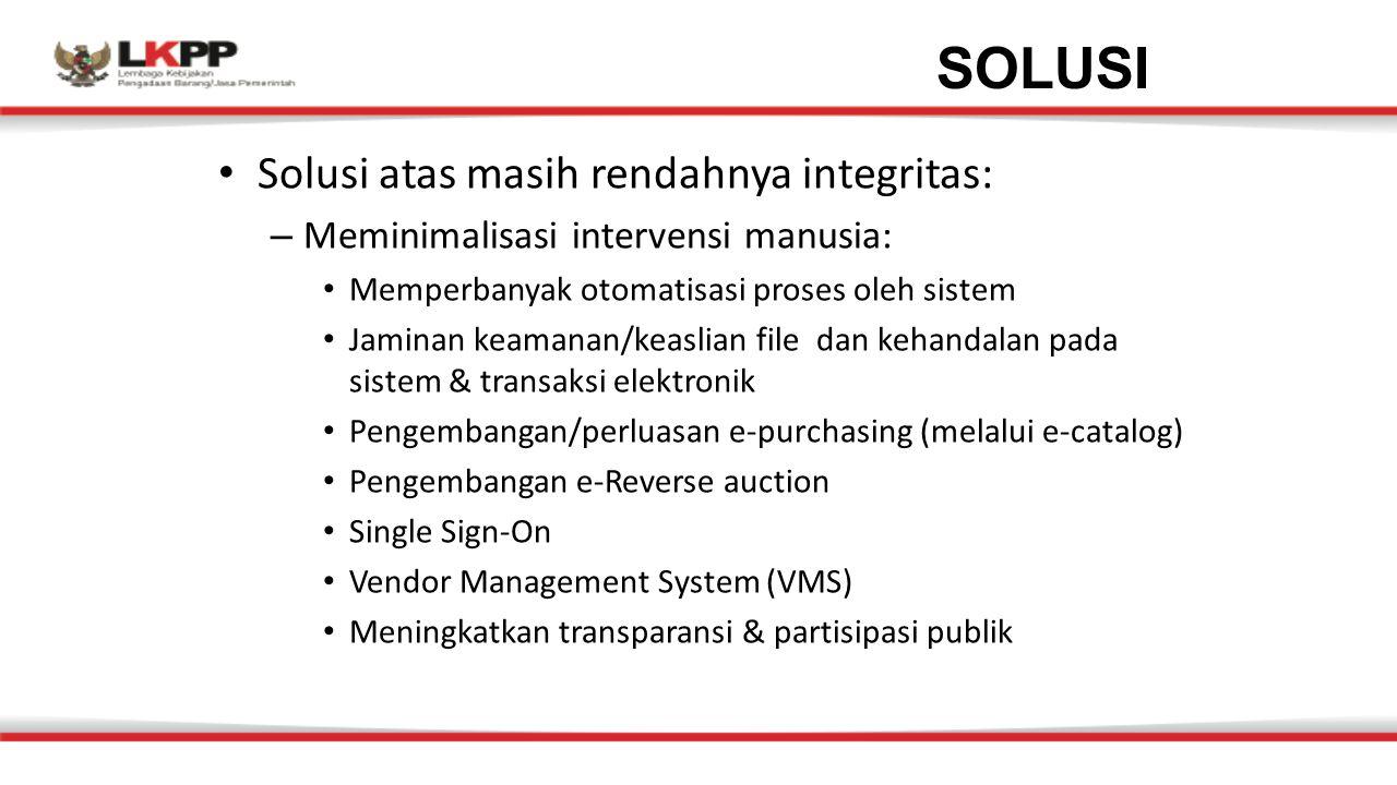 Solusi atas masih rendahnya integritas: – Meminimalisasi intervensi manusia: Memperbanyak otomatisasi proses oleh sistem Jaminan keamanan/keaslian fil