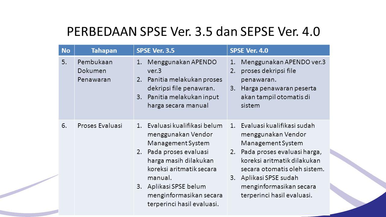 PERBEDAAN SPSE Ver. 3.5 dan SEPSE Ver. 4.0. NoTahapanSPSE Ver. 3.5SPSE Ver. 4.0 5.Pembukaan Dokumen Penawaran 1.Menggunakan APENDO ver.3 2.Panitia mel