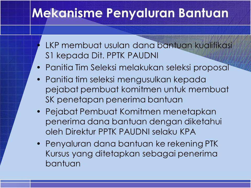 Mekanisme Penyaluran Bantuan LKP membuat usulan dana bantuan kualifikasi S1 kepada Dit. PPTK PAUDNI Panitia Tim Seleksi melakukan seleksi proposal Pan