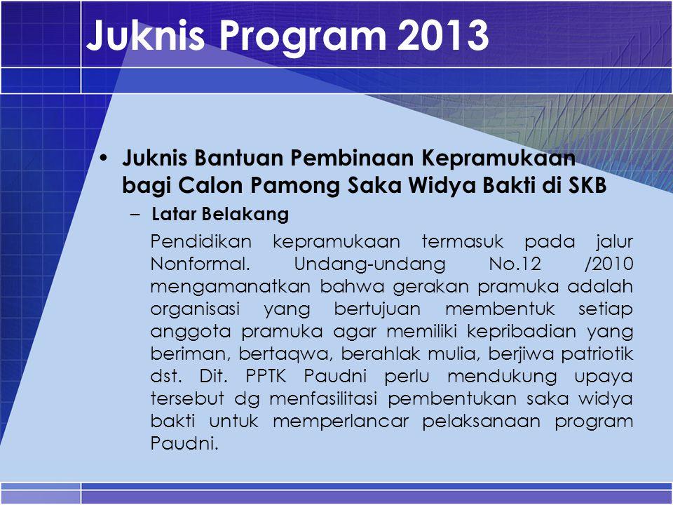 Juknis Program 2013 Juknis Bantuan Pembinaan Kepramukaan bagi Calon Pamong Saka Widya Bakti di SKB – Latar Belakang Pendidikan kepramukaan termasuk pa