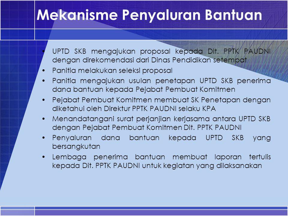 Mekanisme Penyaluran Bantuan UPTD SKB mengajukan proposal kepada Dit. PPTK PAUDNI dengan direkomendasi dari Dinas Pendidikan setempat Panitia melakuka