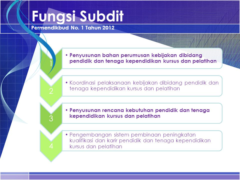 Fungsi Subdit Permendikbud No. 1 Tahun 2012 1 Penyusunan bahan perumusan kebijakan dibidang pendidik dan tenaga kependidikan kursus dan pelatihan 2 Ko