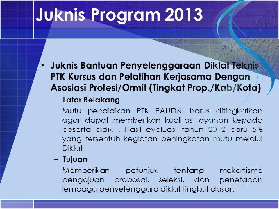 Juknis Program 2013 Juknis Bantuan Penyelenggaraan Diklat Teknis PTK Kursus dan Pelatihan Kerjasama Dengan Asosiasi Profesi/Ormit (Tingkat Prop./Kab/K