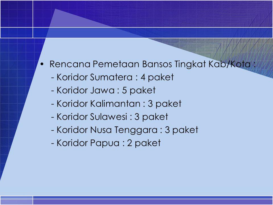 Rencana Pemetaan Bansos Tingkat Kab/Kota : - Koridor Sumatera : 4 paket - Koridor Jawa : 5 paket - Koridor Kalimantan : 3 paket - Koridor Sulawesi : 3