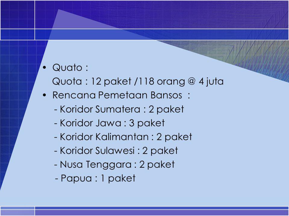 Quato : Quota : 12 paket /118 orang @ 4 juta Rencana Pemetaan Bansos : - Koridor Sumatera : 2 paket - Koridor Jawa : 3 paket - Koridor Kalimantan : 2