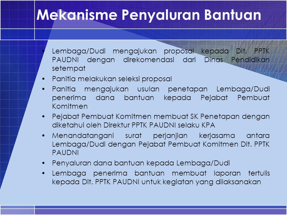 Mekanisme Penyaluran Bantuan Lembaga/Dudi mengajukan proposal kepada Dit. PPTK PAUDNI dengan direkomendasi dari Dinas Pendidikan setempat Panitia mela