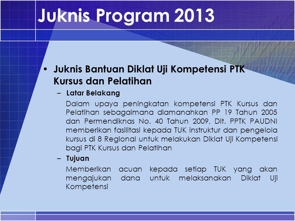 Juknis Program 2013 Juknis Bantuan Diklat Uji Kompetensi PTK Kursus dan Pelatihan – Latar Belakang Dalam upaya peningkatan kompetensi PTK Kursus dan P