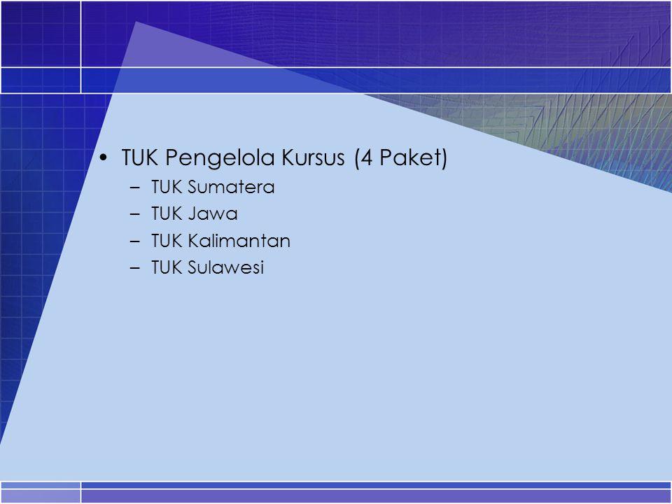TUK Pengelola Kursus (4 Paket) –TUK Sumatera –TUK Jawa –TUK Kalimantan –TUK Sulawesi
