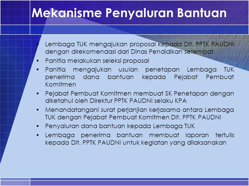 Mekanisme Penyaluran Bantuan Lembaga TUK mengajukan proposal kepada Dit. PPTK PAUDNI dengan direkomendasi dari Dinas Pendidikan setempat Panitia melak
