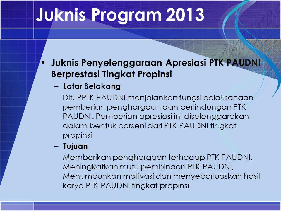 Juknis Program 2013 Juknis Penyelenggaraan Apresiasi PTK PAUDNI Berprestasi Tingkat Propinsi – Latar Belakang Dit. PPTK PAUDNI menjalankan fungsi pela