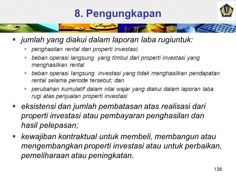 Pelepasan  Properti investasi harus dihentikan pengakuannya (dikeluarkan dari neraca) pada saat: 1. Pelepasan atau 2.Ketika properti investasi tidak