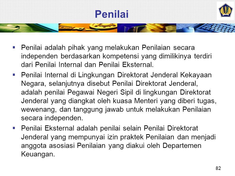 Penilaian – PMK Nomor 179/PMK_6 thn 2009  Penilaian adalah proses kegiatan yang dilakukan oleh penilai untuk memberikan suatu opini nilai atas suatu