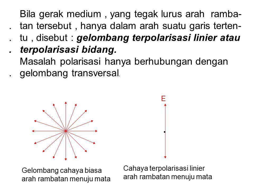 Bila gerak medium, yang tegak lurus arah ramba-. tan tersebut, hanya dalam arah suatu garis terten-. tu, disebut : gelombang terpolarisasi linier atau