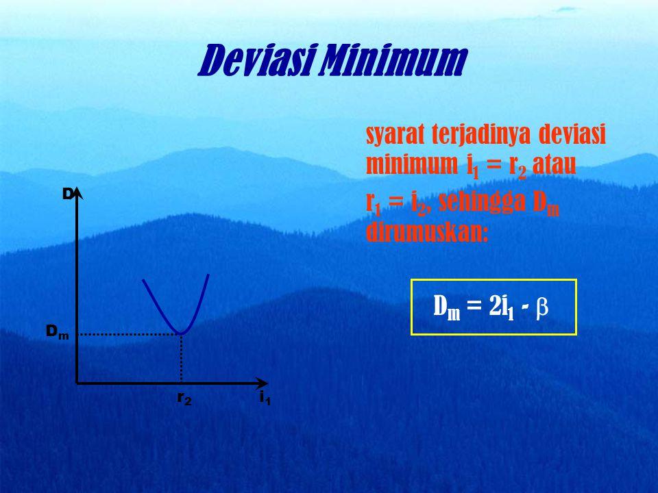 Dengan menggunakan hukum Snellius sudut deviasi minimum dapat dirumuskan: n m sin ½ (  + D m ) = n p sin ½  untuk   15 o dirumuskan: