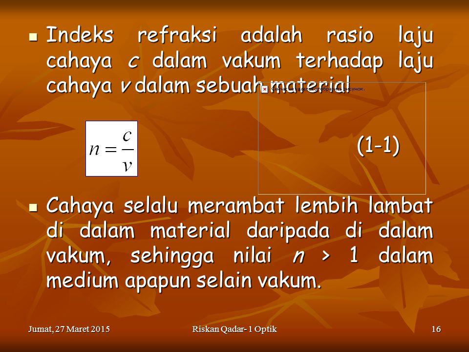 Jumat, 27 Maret 2015Jumat, 27 Maret 2015Jumat, 27 Maret 2015Jumat, 27 Maret 2015Riskan Qadar- 1 Optik16 Indeks refraksi adalah rasio laju cahaya c dalam vakum terhadap laju cahaya v dalam sebuah material Indeks refraksi adalah rasio laju cahaya c dalam vakum terhadap laju cahaya v dalam sebuah material(1-1) Cahaya selalu merambat lembih lambat di dalam material daripada di dalam vakum, sehingga nilai n > 1 dalam medium apapun selain vakum.
