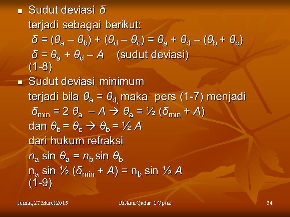 Jumat, 27 Maret 2015Jumat, 27 Maret 2015Jumat, 27 Maret 2015Jumat, 27 Maret 2015Riskan Qadar- 1 Optik34 Sudut deviasi δ Sudut deviasi δ terjadi sebagai berikut: δ = (θ a – θ b ) + (θ d – θ c ) = θ a + θ d – (θ b + θ c ) δ = (θ a – θ b ) + (θ d – θ c ) = θ a + θ d – (θ b + θ c ) δ = θ a + θ d – A (sudut deviasi) (1-8) δ = θ a + θ d – A (sudut deviasi) (1-8) Sudut deviasi minimum Sudut deviasi minimum terjadi bila θ a = θ d, maka pers (1-7) menjadi δ min = 2 θ a – A  θ a = ½ (δ min + A) δ min = 2 θ a – A  θ a = ½ (δ min + A) dan θ b = θ c  θ b = ½ A dari hukum refraksi n a sin θ a = n b sin θ b n a sin ½ (δ min + A) = n b sin ½ A (1-9)