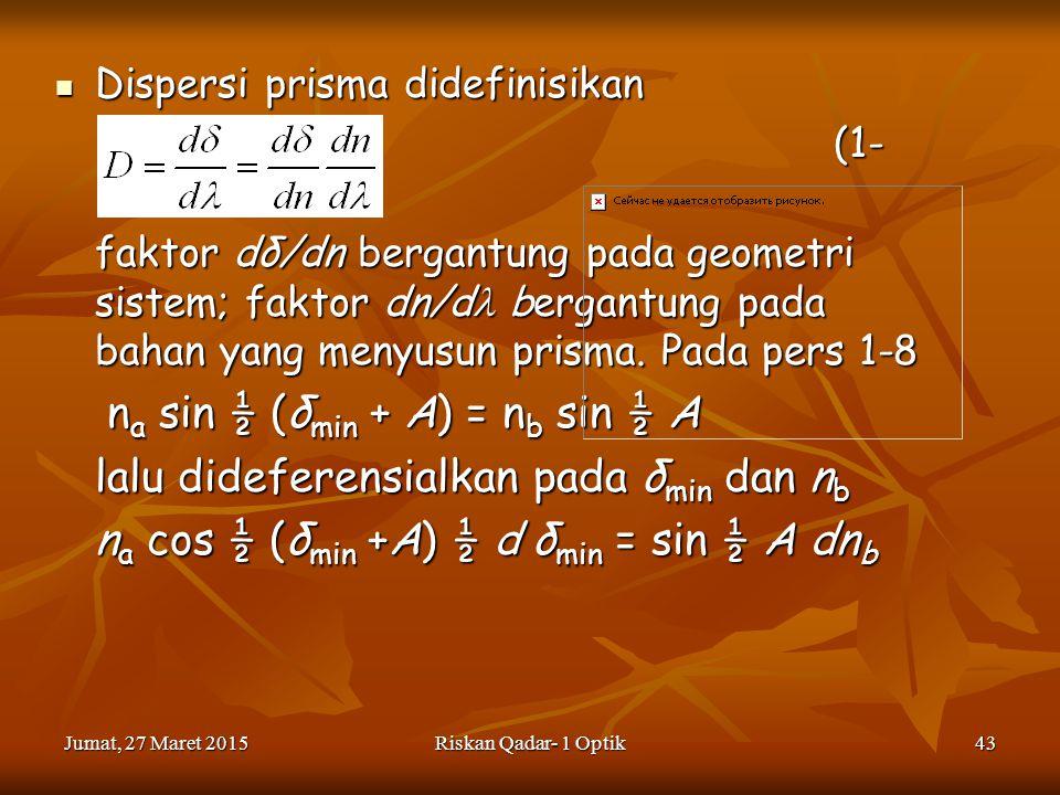 Jumat, 27 Maret 2015Jumat, 27 Maret 2015Jumat, 27 Maret 2015Jumat, 27 Maret 2015Riskan Qadar- 1 Optik43 Dispersi prisma didefinisikan Dispersi prisma didefinisikan (1- 12) (1- 12) faktor dδ/dn bergantung pada geometri sistem; faktor dn/d bergantung pada bahan yang menyusun prisma.