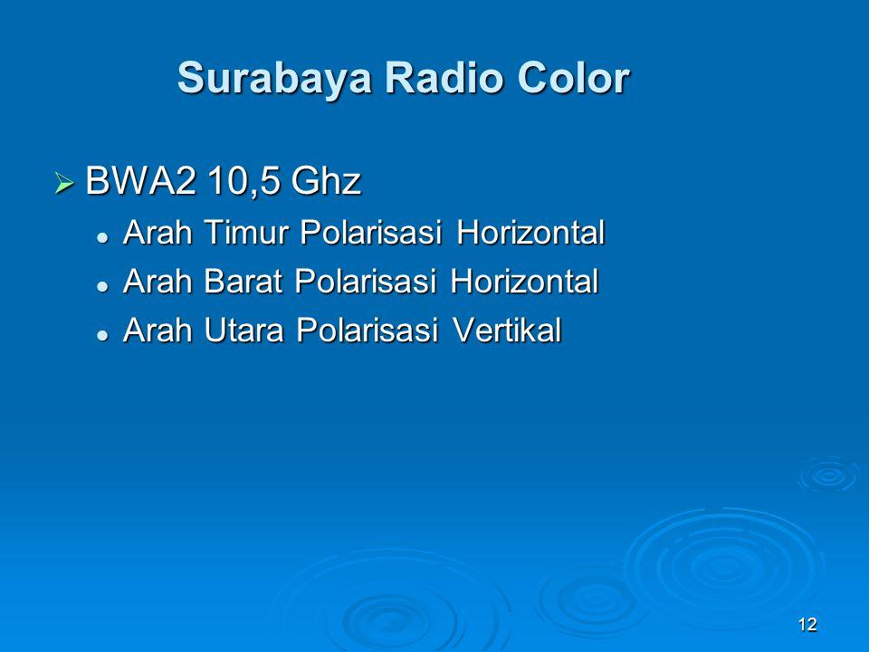 12 Surabaya Radio Color  BWA2 10,5 Ghz Arah Timur Polarisasi Horizontal Arah Timur Polarisasi Horizontal Arah Barat Polarisasi Horizontal Arah Barat